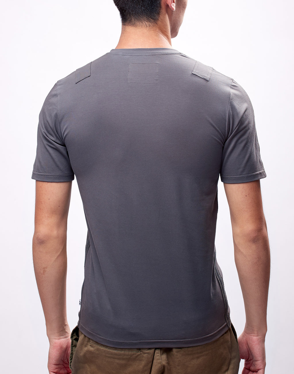 Dark Grey Fitted V-Neck T-Shirt