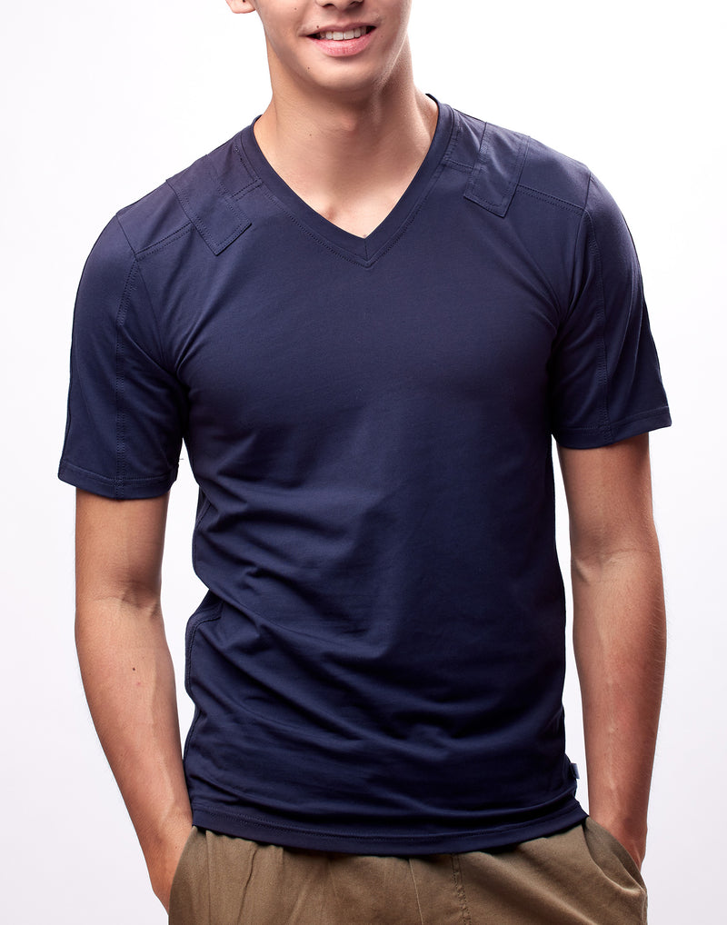 Navy Blue Fitted V-Neck T-Shirt