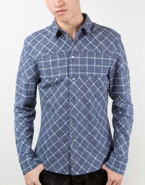 Dark Blue Flannel Shirt