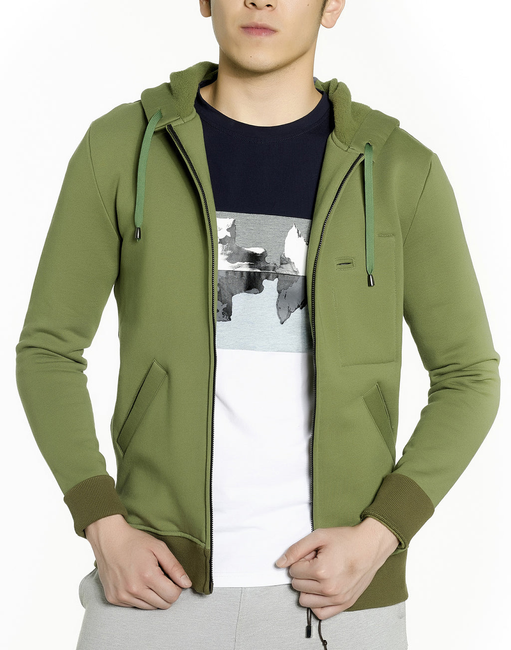 Military Green Zip-up Hoodie