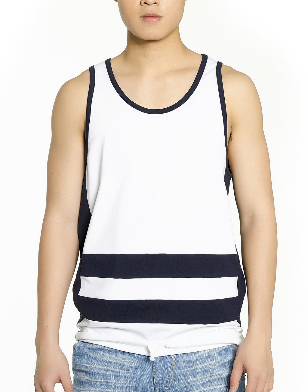 White Colorblock Tank Top