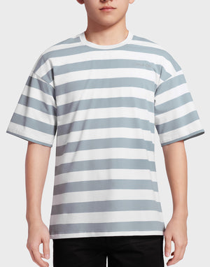 Light Grey Green Striped T-shirt