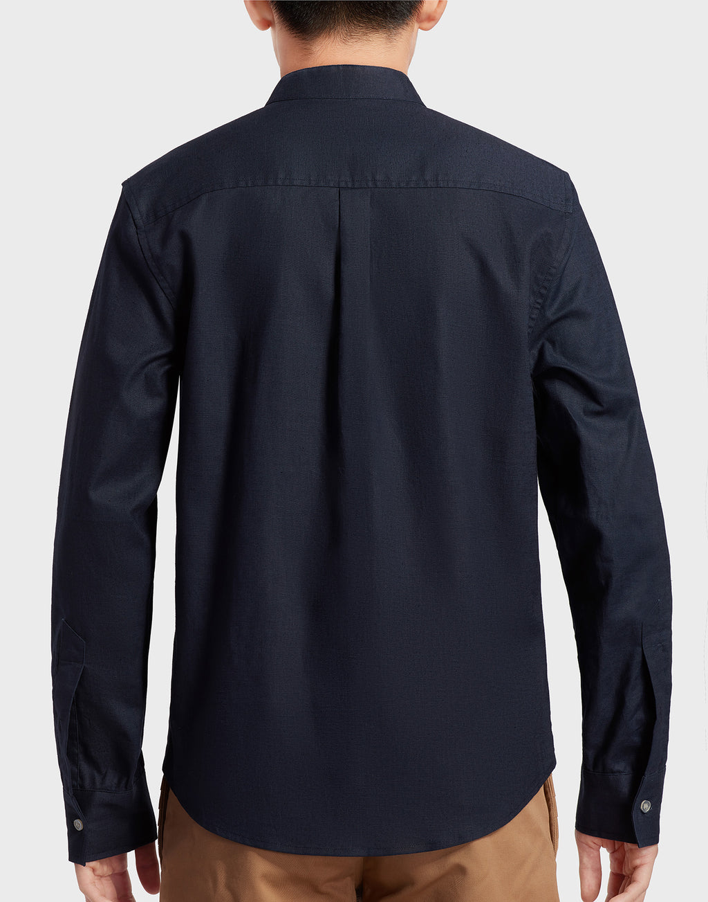 Navy Blue Mandarin Collar Shirt
