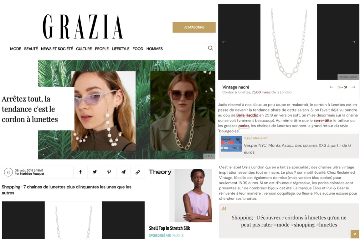 best glasses chains orris london glasses chain in grazia france vintage 70s smiley chain pearl white mother of pearl