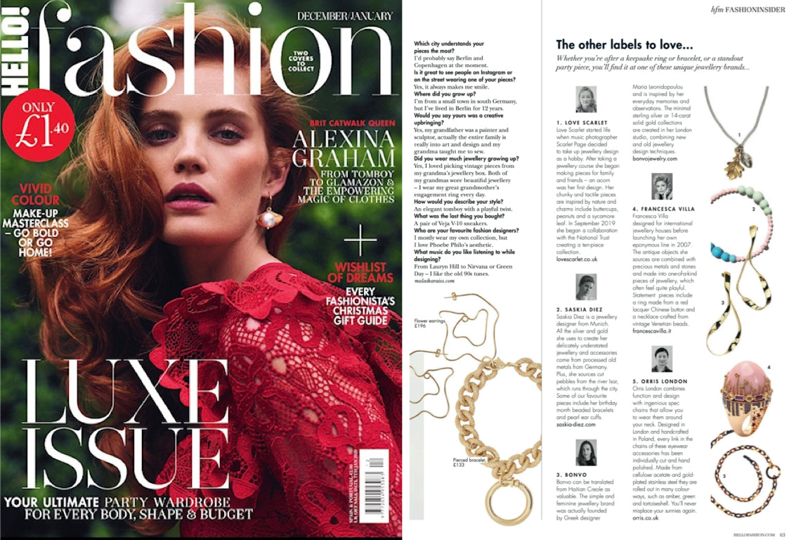 ORRIS LONDON ON HELLO! FASHION DEC 2019 / JAN 2020
