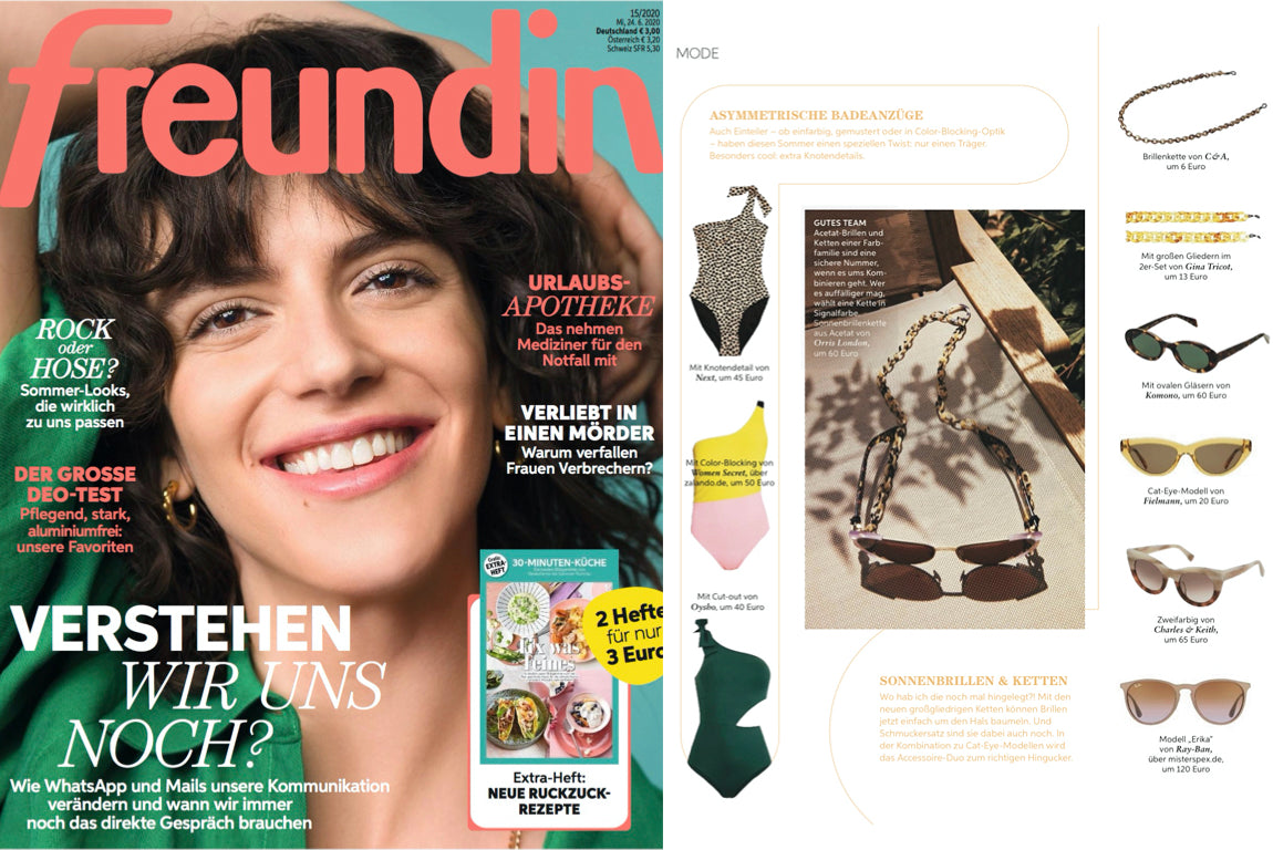 orris london glasses chain featured on Freundin Germany