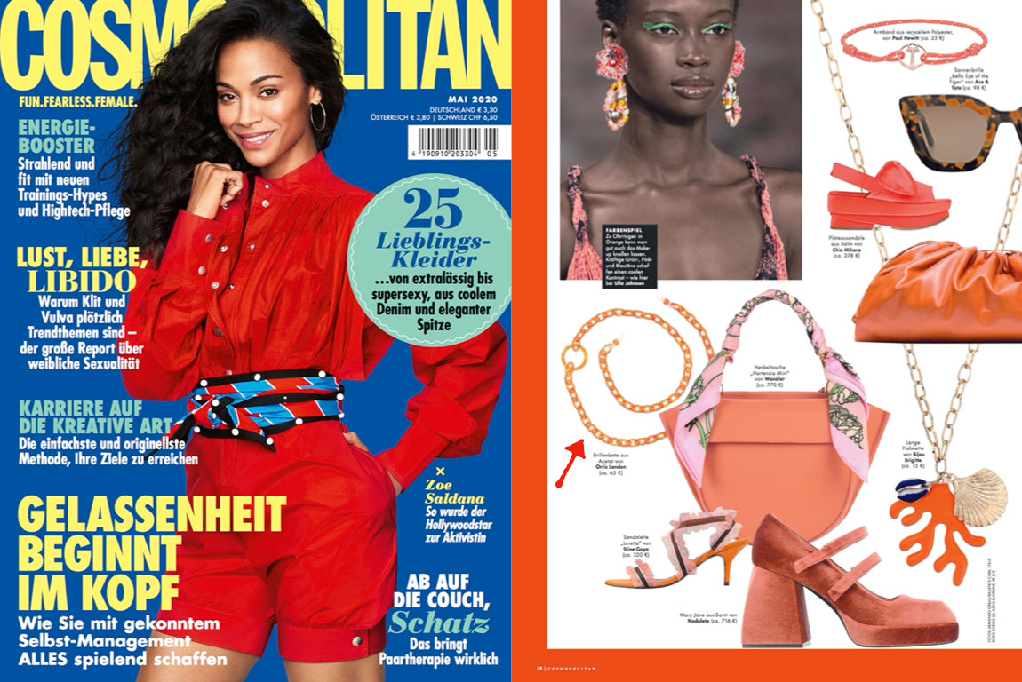 orris london glasses chain featured in cosmopolitan Germany smiley mini orange crush