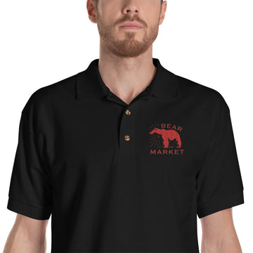 Embroidered Polo Shirt/ Bear Market