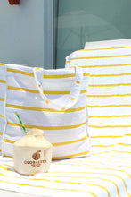 Load image into Gallery viewer, Yellow Striped Pool and Beach Towel