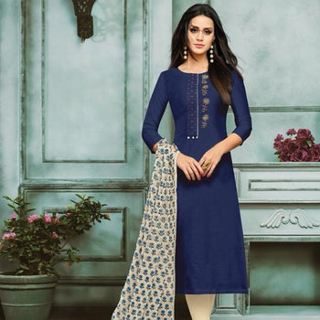 Women Navy Blue & Plan Suit with Designer Neck