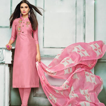 Pink Printed Semi Straight Suit