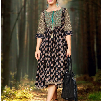 Majestic Black and Yellow Printed Umbrella Kurta