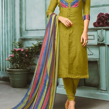 Mehndi Color Suit with Colorfull Dupatta
