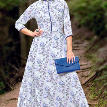 Chinese Collar Full Length Kurti Dress