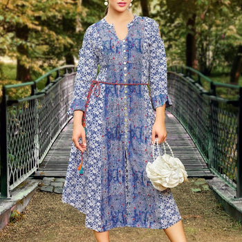 Blue & White Floral A-Line, Cold Shoulder Kurta with Tie-Up