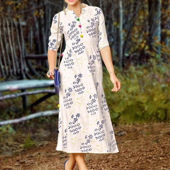 Van Neck Floral-Printed Umbrella Kurta with Zarika