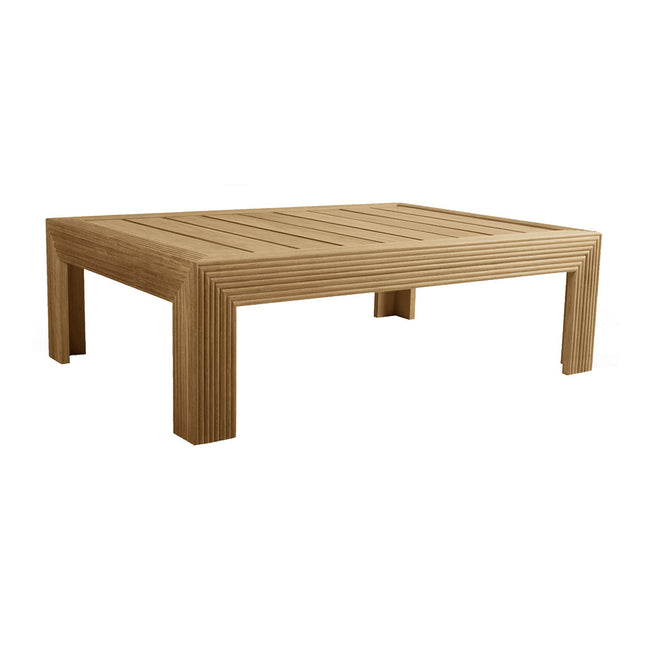 Reeded Rectangular Coffee Table - Slatted