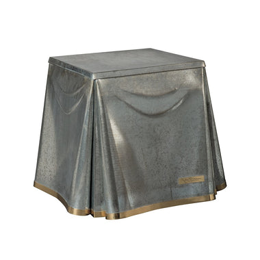 Galvanized Tin Table with Brass Binding