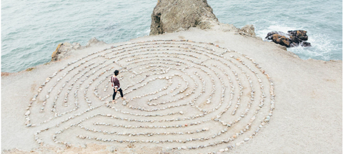 Maze on the beach, Labyrinth symbol