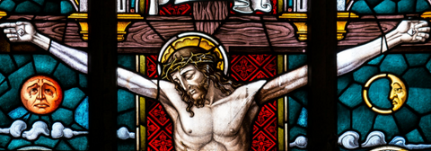 Jesus christ stained glass window crucifixion
