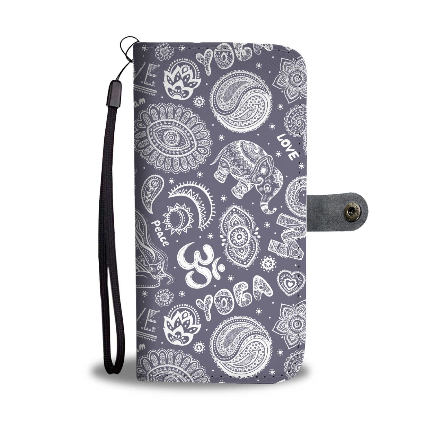Yoga, Om, Lucky Elephant, Lotus, Buddhist Design Phone Wallet Case