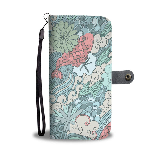 Lotus Flower and Coy Carp Buddhist Style Design Phone Wallet Case