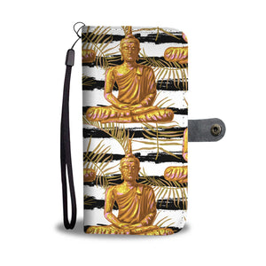 Golden Buddha Pattern Buddhist Design Phone Wallet Case