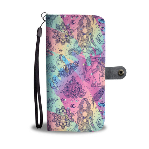 Colorful Yoga Buddhist Style Pattern. Om, Spiritual Meditation Design Phone Wallet Case