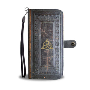 Triquetra & Triple Moon Antique Style Witchcraft Spell Book Phone Wallet Case