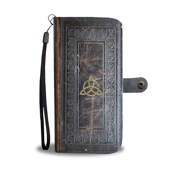 Triquetra grimoire book of shadows phone case, antique leather style