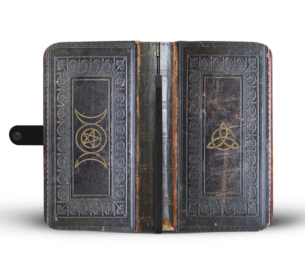 Triple moon grimoire book of shadows phone case, antique leather style