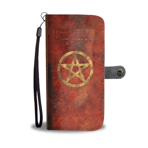 Antique Grimoire Book Of Shadows Effect Pentagram Phone Wallet Case
