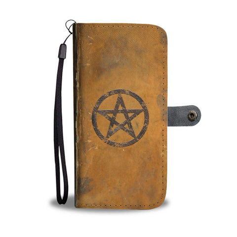 Antique Effect Grimoire With Pentagram Phone Wallet Case