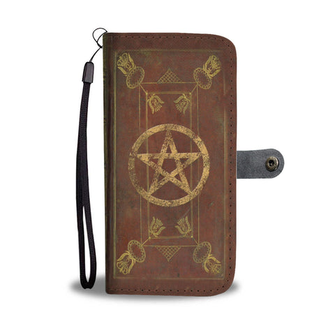 Book Of Shadows Grimoire With Pentagram Phone Wallet Case