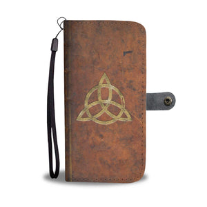 Grimoire Effect With Triple Moon And Triquetra Symbol Phone Wallet Case