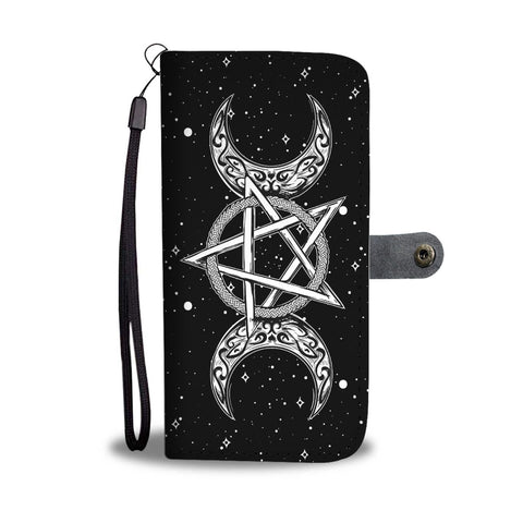 Triple Moon & Pentagram Symbol Phone Case Wallet