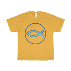 Unisex Heavy Cotton Tee, Ichthys Christian Fish Symbol T-shirt.