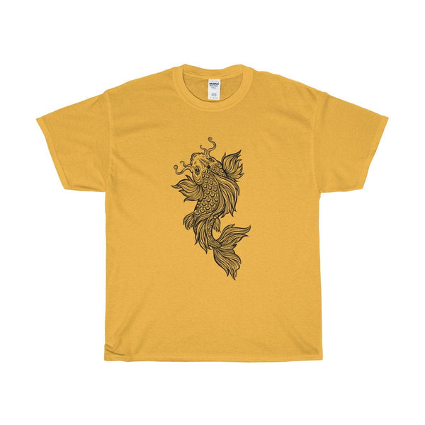 Unisex Heavy Cotton Tee Coy Carp Fish Buddhist Design T-shirt