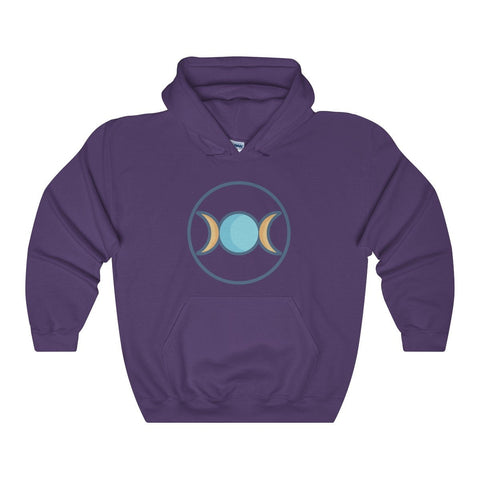 Triple Moon Wiccan Pagan Spiritual Symbol Unisex Heavy Blend™ Hooded Sweatshirt