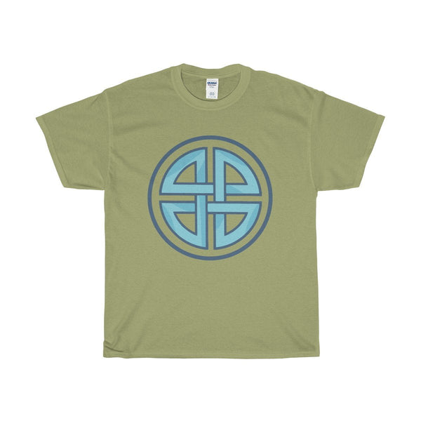 Unisex Heavy Cotton Tee, Celtic Shield Cross Knot Symbol