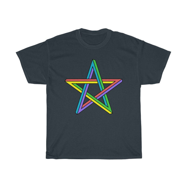 Unisex Heavy Cotton Tee, Rainbow Colourful Pentagram Pentacle Wiccan Design T-shirt