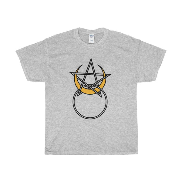 Unisex Heavy Cotton Tee, Horned God, Pentagram, Moon Wiccan Design T-shirt