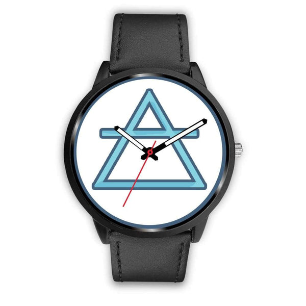 Air Element Alchemy Wiccan Symbol Custom-Designed Wrist Watch - Mens 40Mm / Black Leather - Black Watch