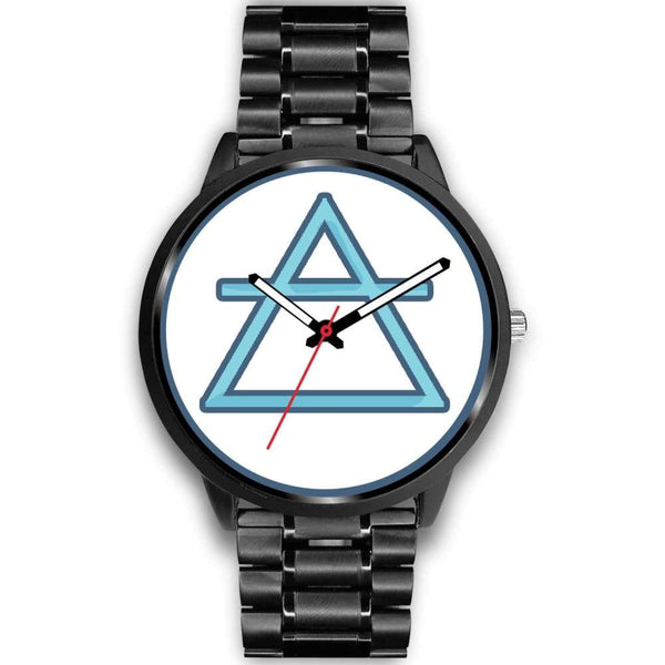 Air Element Alchemy Wiccan Symbol Custom-Designed Wrist Watch - Mens 40Mm / Black Metal Link - Black Watch