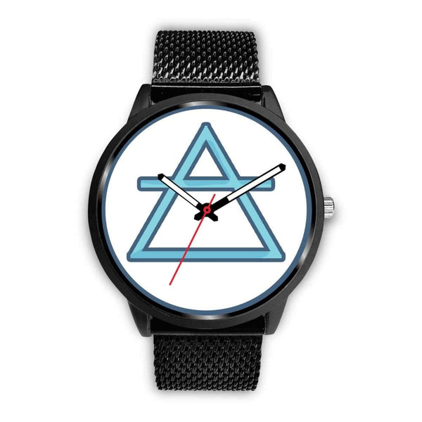 Air Element Alchemy Wiccan Symbol Custom-Designed Wrist Watch - Mens 40Mm / Black Metal Mesh - Black Watch