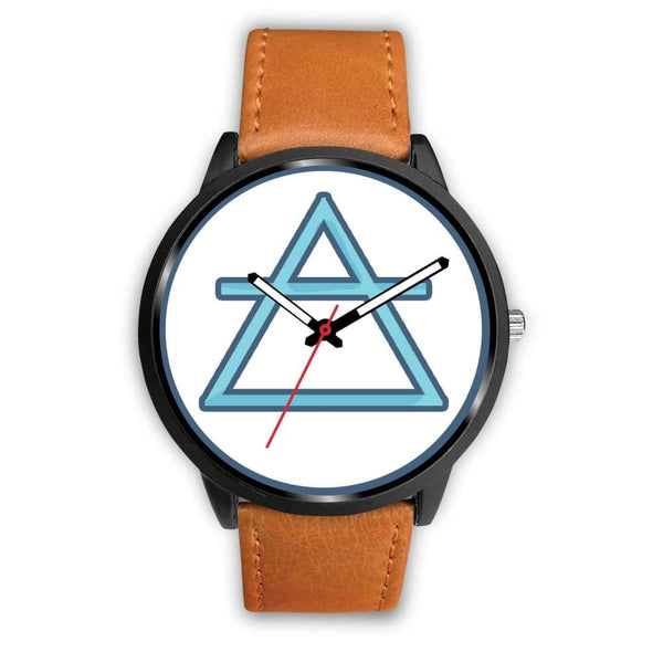 Air Element Alchemy Wiccan Symbol Custom-Designed Wrist Watch - Mens 40Mm / Brown Leather - Black Watch