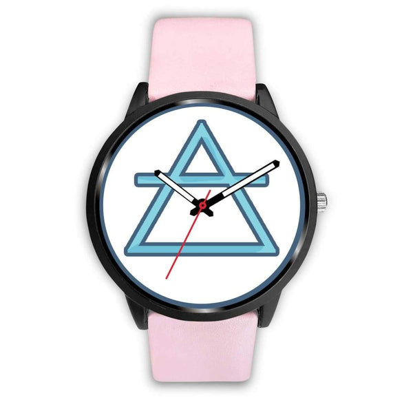 Air Element Alchemy Wiccan Symbol Custom-Designed Wrist Watch - Mens 40Mm / Pink Leather - Black Watch