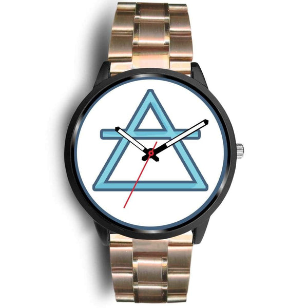 Air Element Alchemy Wiccan Symbol Custom-Designed Wrist Watch - Mens 40Mm / Rose Gold Metal Link - Black Watch
