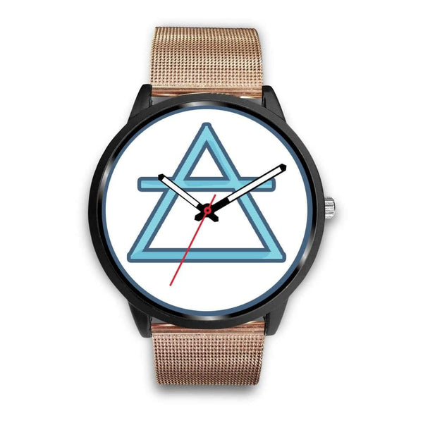 Air Element Alchemy Wiccan Symbol Custom-Designed Wrist Watch - Mens 40Mm / Rose Gold Metal Mesh - Black Watch