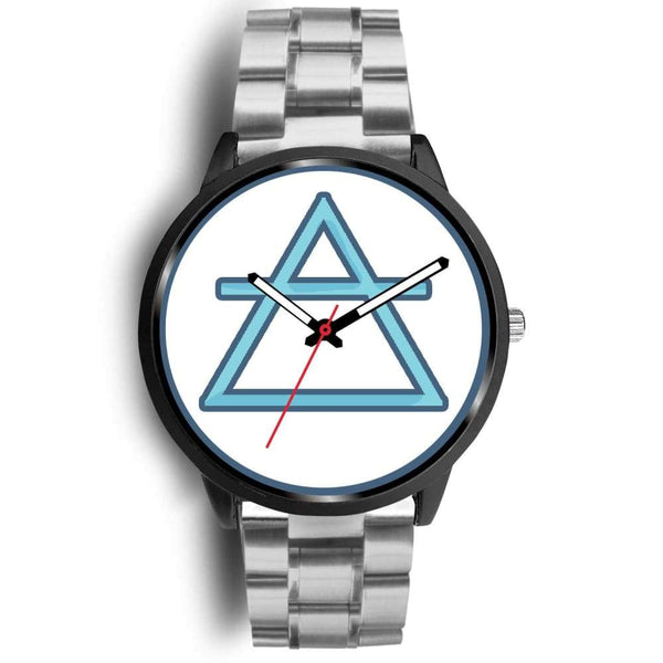 Air Element Alchemy Wiccan Symbol Custom-Designed Wrist Watch - Mens 40Mm / Silver Metal Link - Black Watch